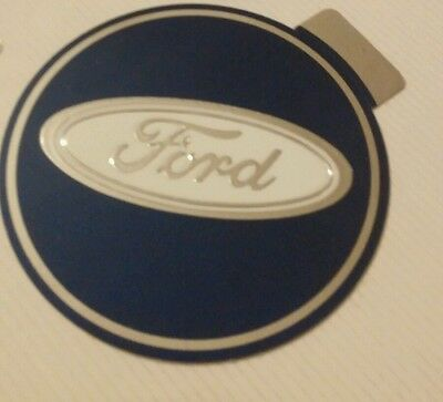 Vintage Ford logo foil decal blue silver and white