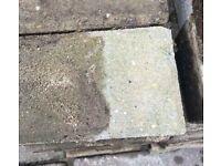Buff coloured paving blocks