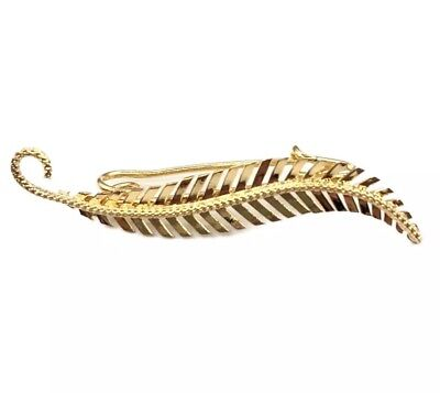 - 18k Yellow Gold Feather Leaf Pin Brooch (PD042)