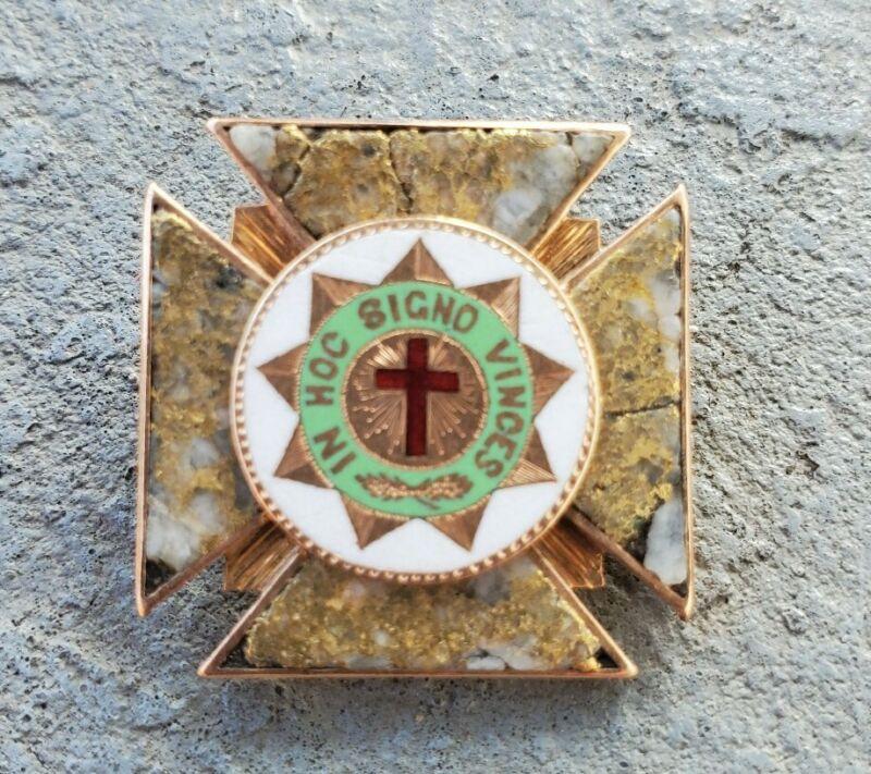14k 1880s California Gold Rush Miners Quartz Freemason Masonic Lodge Pin