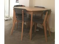 Monty Extending Dining Table + Set of 4 Fjord Chairs, in Oak by MADE