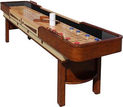 Merlot Premium Hardwood Shuffleboard Table w/ Pub Style Abacus Scoring & Weights