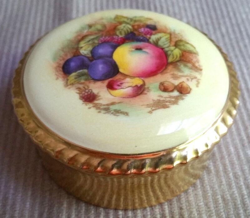 Aynsley Bone China England Porcelain Round Trinket Box Hand Painted Fruit