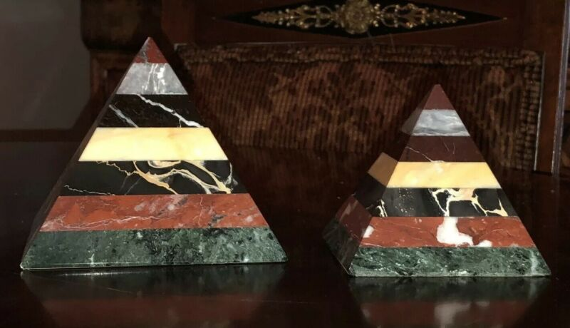 Set of 2 Multi-Colored Marble Triangle Pyramid