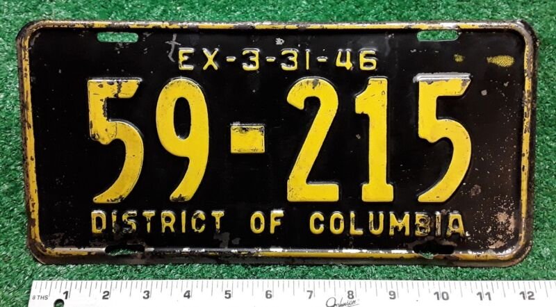 DISTRICT OF COLUMBIA - 1945 passenger license plate - all original (3/46)