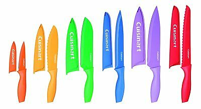 New Cuisinart Bright Mulit Color Collection12 Piece Complete Kitchen Knife Set