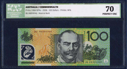 AUSTRALIA 100 DOLLARS PICK 61a POLYMER 2008 ICG 70 PERFECT UNC