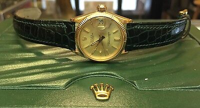 ROLEX GOLD WOMENS WATCH W/ (Dark Green) LEATHER BAND!! STUNNING