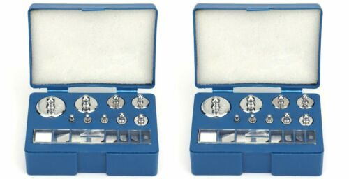 2 SETS of Precision Calibration Grams Weight Sets 17 Steel Pieces 10mg - 100g