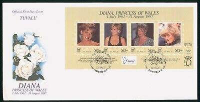 MayfairStamps Tuvalu 1997 Princess Diana Souvenir Sheet Royalty First Day Cover