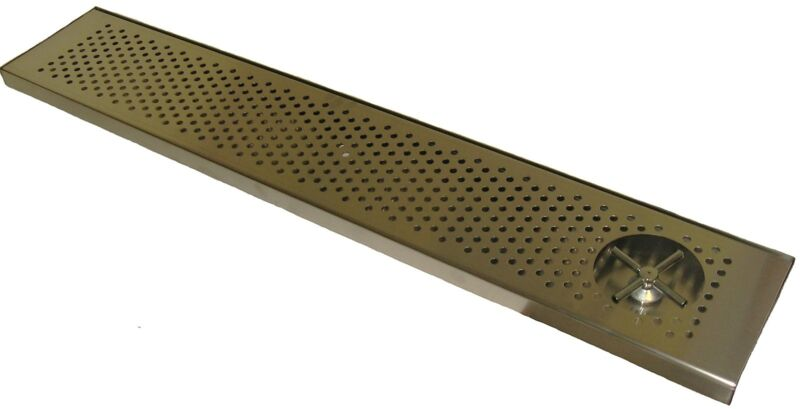 """Draft Beer Rinser Drip Tray 45"""" x 8"""" W/ S.S. Grill & 4"""" Metal Drain- DTW-45SS-R"""