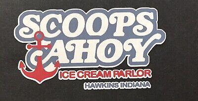 """SCOOPS AHOY 4.5""""x2.5"""" Die-Cut Vinyl Decal Sticker Stranger Things -"""