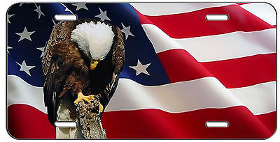 PATRIOTIC LICENSE PLATE AMERICAN FLAG AND PRAYING  EAGLE AUTO TAG