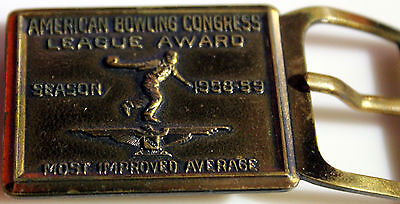 American Bowling Congress League Award Belt Buckle Most Improved Average 1958-59