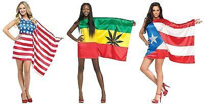 Costume Puerto Rico (Sexy Flag Dress USA PUERTO RICO JAMAICA Pride Rican Jamaican Rasta Adult)