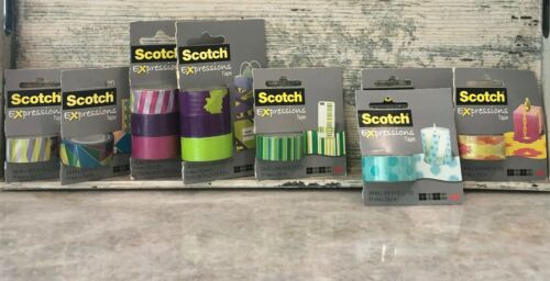 Scotch Expressions Scrapbooking Washi Craft Adhesive Tape Lot of 12 Rolls NEW