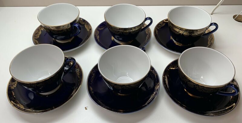 Set Of Six Lomonosov Russian Cobalt Blue with Gold Trim Cups And Saucers 12 Pcs