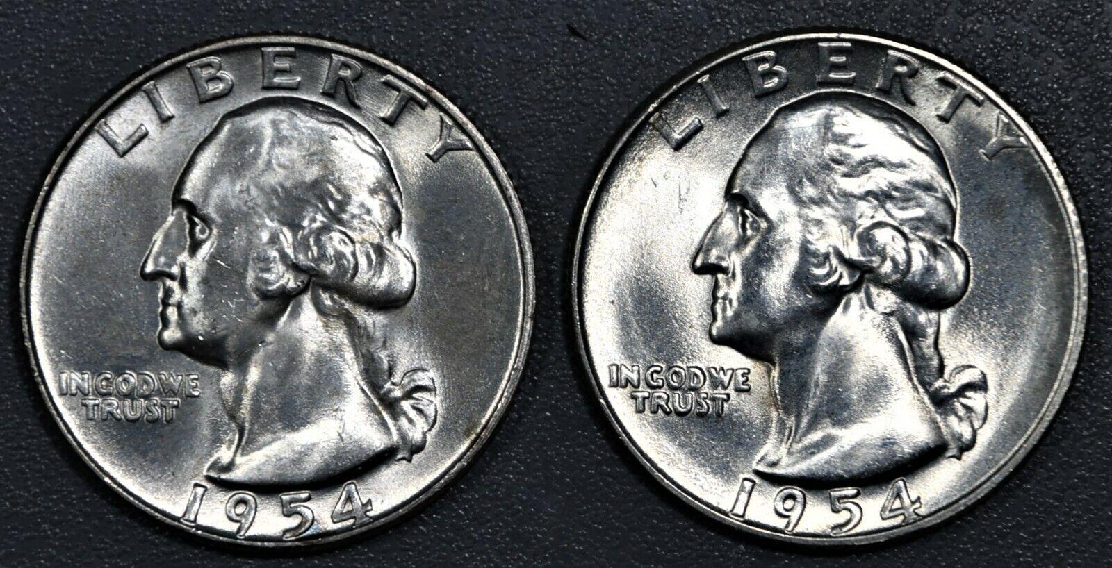 2 25c WASHINGTON SILVER QUARTERS, 1954-D CH BU , 1954-S CH BU , SKU-2872 - $10.30