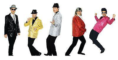 Pailletten Jacket Kostüm Jacke Sakko Blazer Gangster Glamour Show Disco - Silber Gangster Kostüm