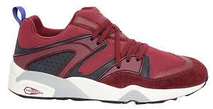 Puma-Trinomic-Blaze-Informal-Zapatillas-Hombre-Zapatos-Con-Cordones-Rojo-Gris