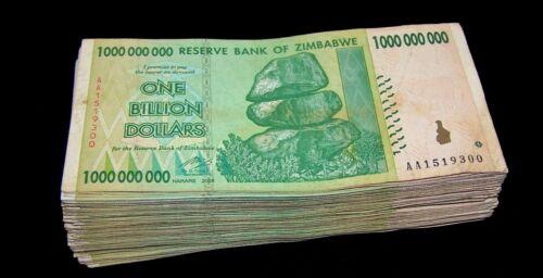 50 x Zimbabwe 1 Billion Dollar banknotes-1/2 currency bundle-2008/AA only