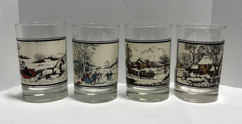 """4-VINTAGE """"1978 ARBYS"""" COMPLETE 4 GLASS WINTER SET OF 12 OZ DRINK GLASSES #1-4"""