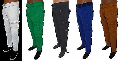 Men HALIFAX Blue Timber Green White Black Slim Straight Cargo Pants With Belt ()
