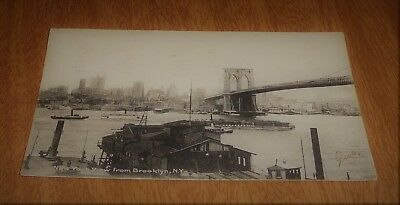 Vintage Postcard UDB - Birds Eye View New York City From Brooklyn Steamers 1906