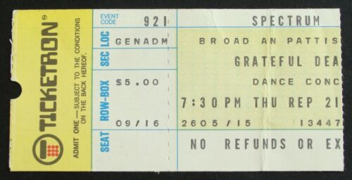 Grateful Dead September 21, 1972 Ticket Stub~The Spectrum Philadelphia, PA