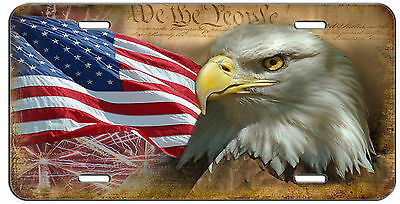 LICENSE PLATE INDEPENDENCE AMERICAN FLAG AND EAGLE AUTO TAG