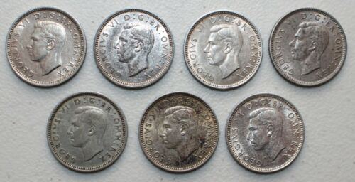 7 Coin Lot 1937-1944 Great Britain Silver Sixpence Coins 6 Pence UK Extra Fine