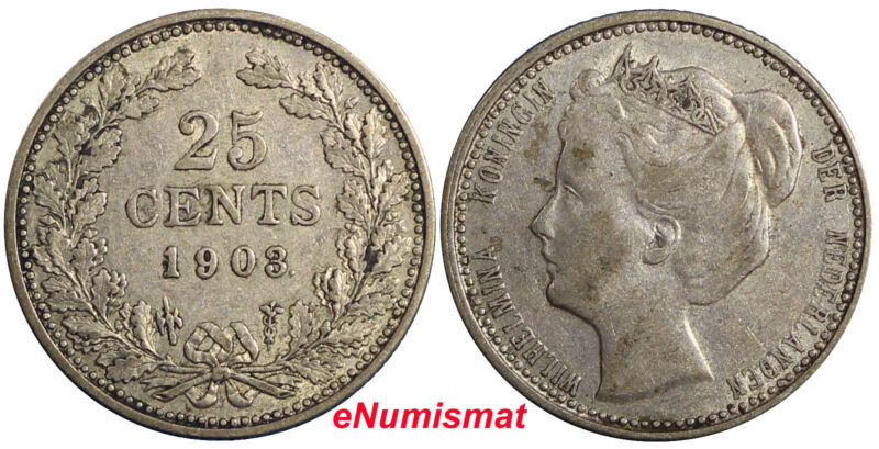 Netherlands Wilhelmina I Silver 1903 25 Cents 19mm KM# 120.2
