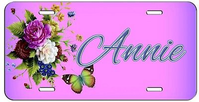 PERSONALIZED CUSTOM PURPLE FLOWERS AND BUTTERFLY VANITY LICENSE PLATE AUTO -