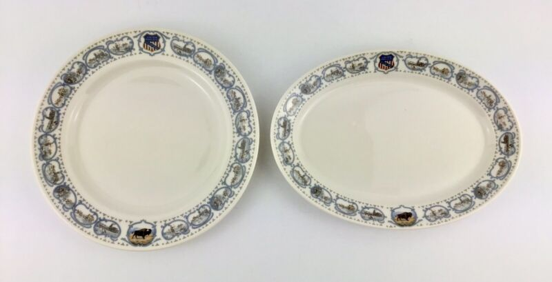 Union Pacific Syracuse China Rare Overland Historical Pattern Lot of 2 Plates