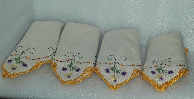 (4) Vintage Linen Embroidered and Crochet Trimmed Napkins