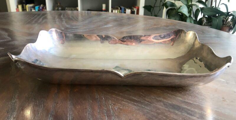 "C Zurita 925 Mexico Sterling Silver Bowl Tray 12"" 641 grams Perlita Modernist"