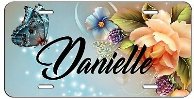 PERSONALIZED CUSTOM BUTTERFLY AND FLOWERS VANITY LICENSE PLATE AUTO -