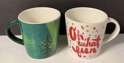 2014 Starbucks Espresso 3 Oz Demitasse Oh What Fun And Pine Trees Christmas