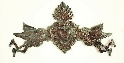 Beautiful Mexican Tin Sacred Heart Day Of The Dead Wall Hanging Mexico Copper
