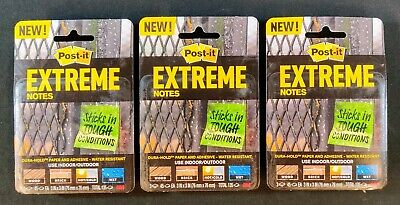 3 Pack Post-it Extreme Notes - 9 Pads Total - 45 Sheets Per Pad