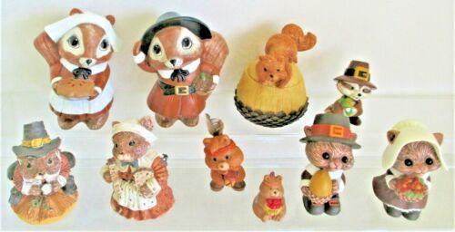 Cute Critters Thanksgiving Lot Hallmark brn 10 Pieces Adorable!