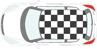 Checkered Flag (Car Checkered Flag - 24 individual square vinyl stickers decals for roof of car)