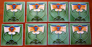 ANTIQUE ART NOUVEAU MAJOLICA TILES RARE SET X 8