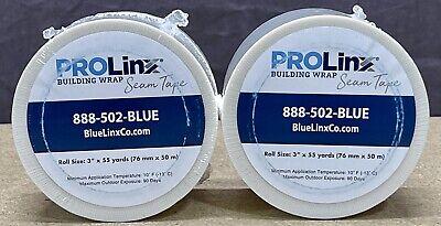 2 Rolls Of Prolinx 3 X 55yd White House Building Wrap Seam Tape Sheeting Tyvek