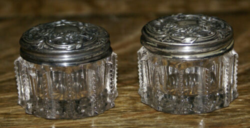 """PAIR of Antique Victorian Sterling Silver on Patterned Glass Rouge Jars 1.5"""""""
