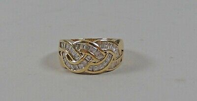 HSN Xavier Gold Vermeil & Sterling Intertwining Absolute Baguette Ring Size 10