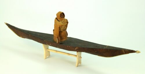 ~Antique 19th C. Inuit Eskimo Kayak Model with Stand