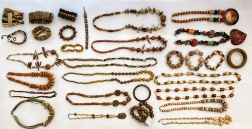 2+lbs Vintage to Now Jewelry Lot Wood Stone Carved Bead Necklaces and Bracelets