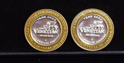 Lot of 2 $10 .999 Silver Strike Venetian Millennium Casino Tokens (CT-18)
