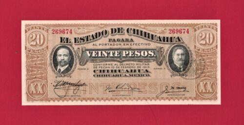 MEXICO REVOL UNC 20 Pesos 1915 El Estado De Chihuahua Note Series E (Pick-S536b)